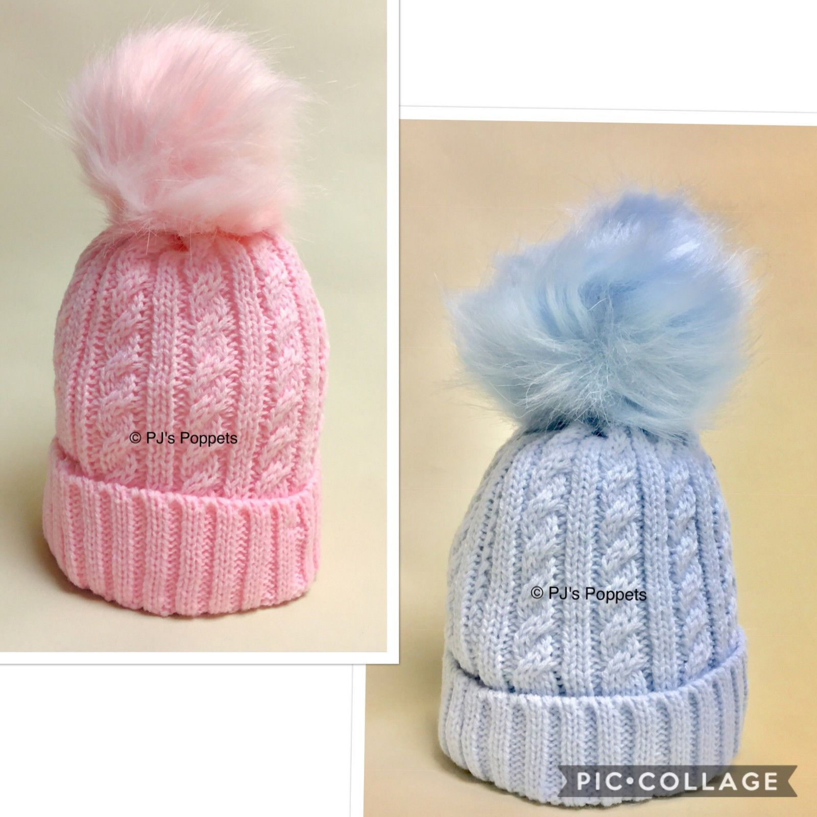 08e67c614 BABY BOYS GIRLS CABLE KNIT FAUX FUR POM POM BOBBLE HAT 6 12 24 M 2-4 Y BLUE  PINK